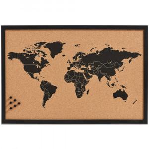 Korková tabule na poznámky World, 60x40 cm, ZELLER