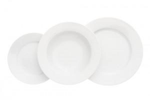 Sada talířů, bílá, český porcelán, Thun, Jana, 18 dílná