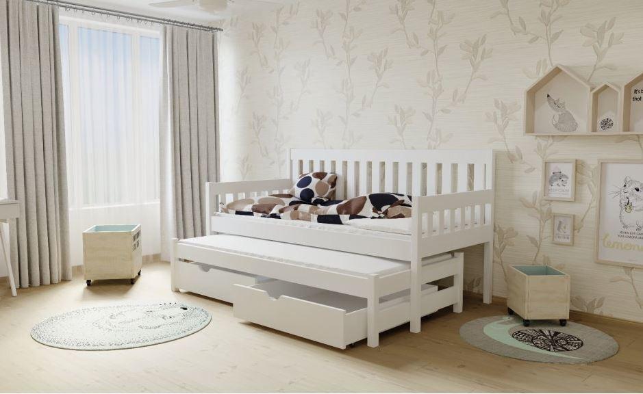 Dětská postel s výsuvnou přistýlkou z MASIVU 200x90cm SE ŠUPLÍKY - M06
