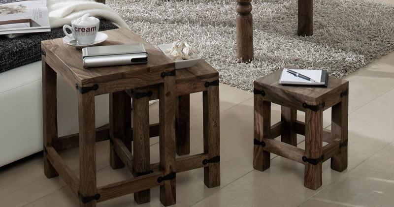 Masiv24 - CASTLE příruční stolek -Set olejovaný palisandr