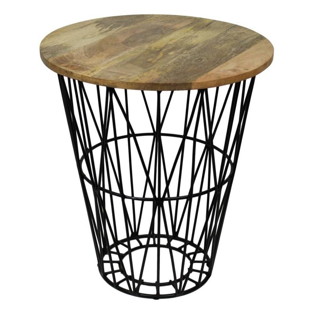 Příruční stolek z mangového dřeva a kovu HSM collection Mahita