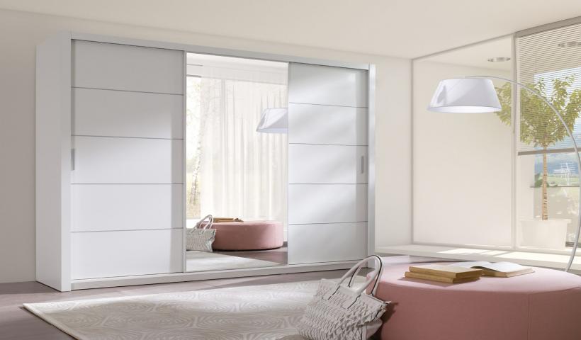 Šatní skříň 250 cm - bílá barva