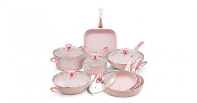 8dílný set nádobí s poklicemi Bisetti Stonerose Rose Filippo