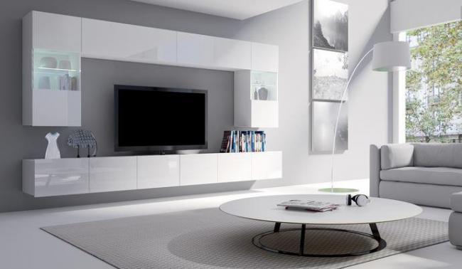 Obývací stěna KALABRY bílý lesk bez LED osvětlení