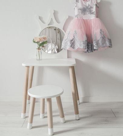 Dětský stůl korunka / toaletní stolek barva: pastelově modrá
