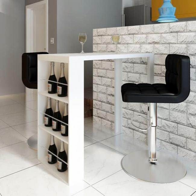 240820 vidaXL Vysoce lesklý barový / jídelní stůl s třípatrovým regálem