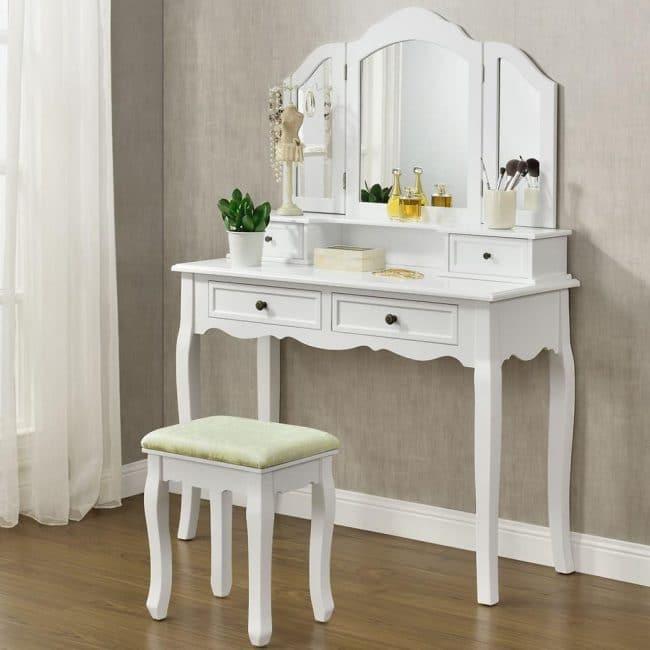 Goleto Originální vintage toaletní stolek se zrcadlem Fiona | bílý