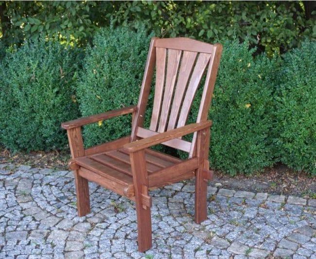 Zahradní dřevěné křeslo z masivu, vyšší ozdobná opěrka, lakované
